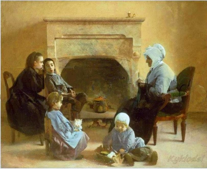 Henri Jules Jean Geoffroy - Family seated around a hearth