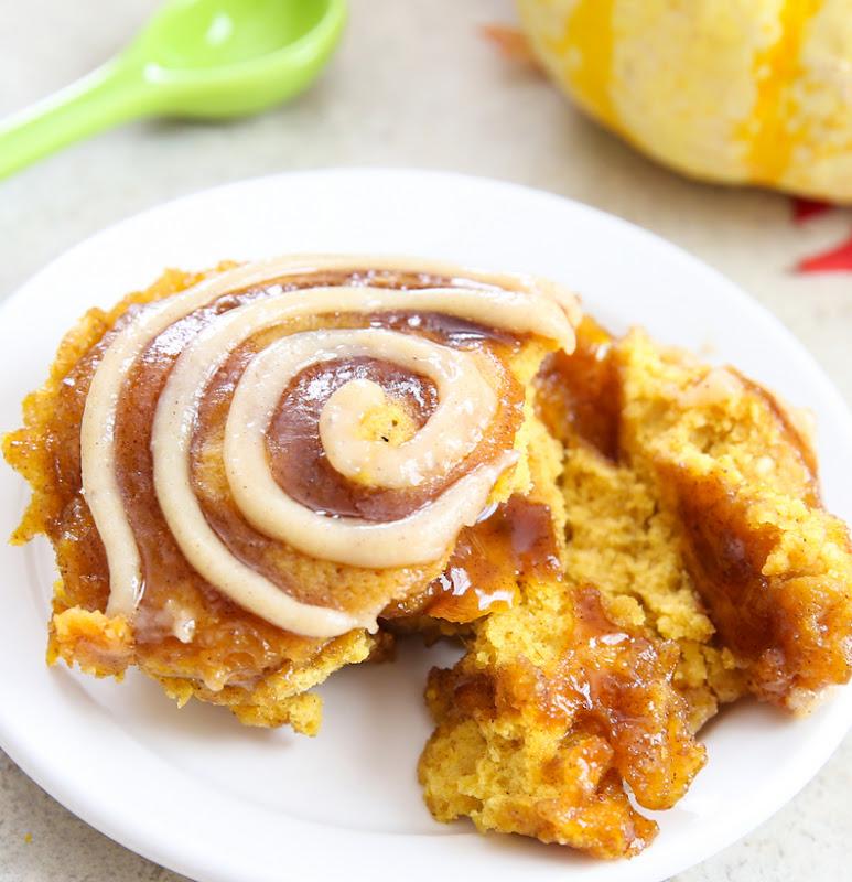 photo of a Pumpkin Cinnamon Roll Cake on a plate