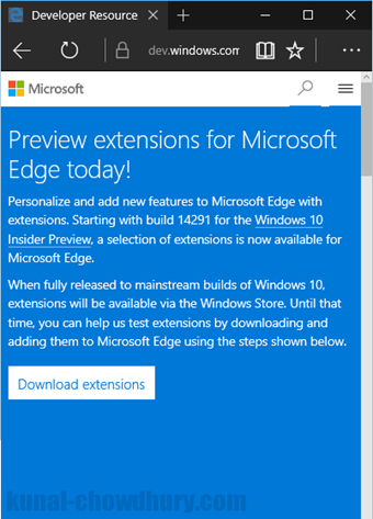 Windows 10 - Microsoft Edge - Extensions Preview Page (www.kunal-chowdhury.com)