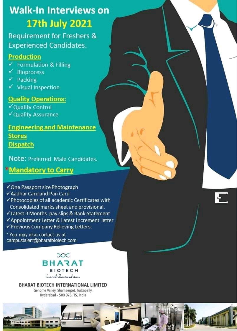 Walk-in For Freshers & Experienced For Production, QA, & Engineering At Bharat Biotech