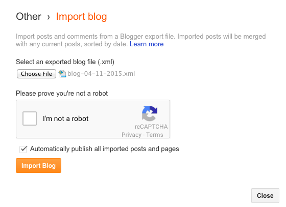 import file ke blogger