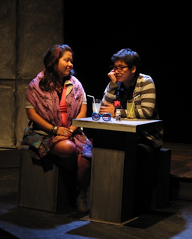 Ella Palileo and Mirick Paala in Tanghalang Ateneo's production of Fireflies