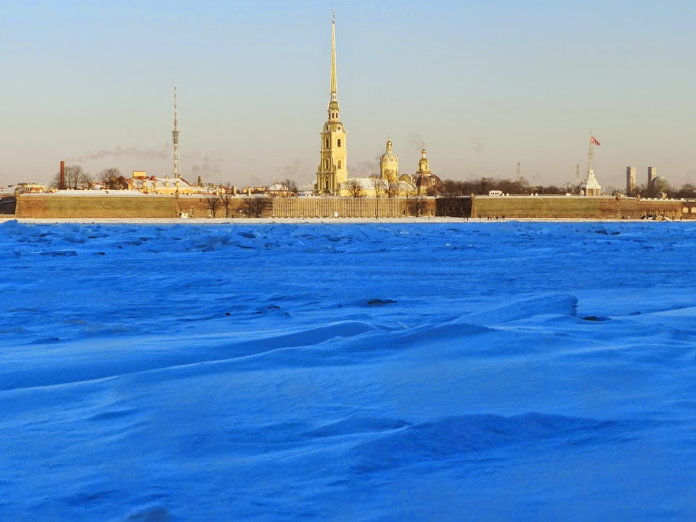 The Peter and Paul Fortress across the frozen Neva River.