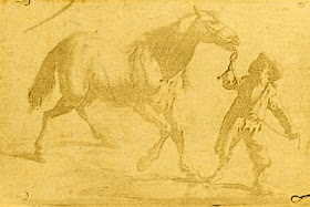 """The oldest heliographic engraving known in the world. Reproduction of a 17th century Flemish engraving, showing a man leading a horse. Made by the French inventor Nicéphore Niépce in 1825, with an heliography technical process. The Bibliothèque nationale de France bought it 450,000 € in 2002, deeming it as a """"national treasure""""."""