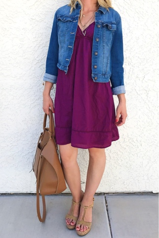 Thrifty Wife, Happy Life- Purple empire waist dress/ mom style