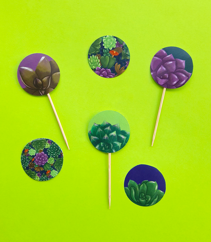 food toppers, drink stirrers, picnic, garden tea party, toothpicks, succulents, plants, pattern, free download, printable