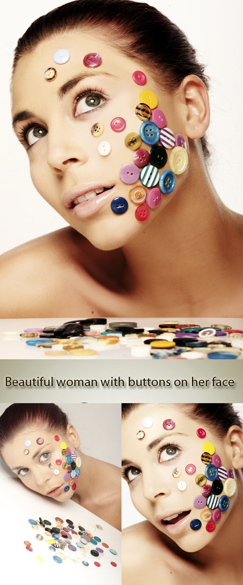Stock Photo: Beautiful woman with buttons on her face