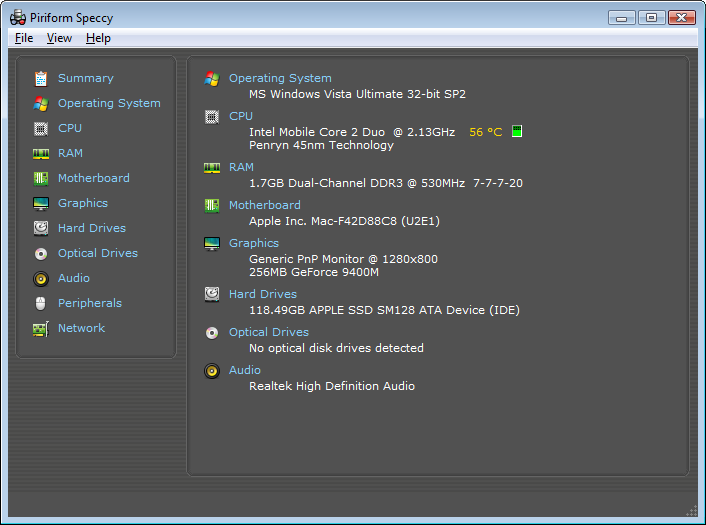 Screenshot of Speccy v.1.22.536 System Info PC Software Free Download at Alldownloads4u.Com
