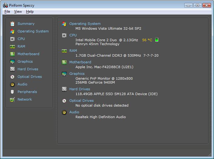 Screenshot of Speccy v.1.22.536 System Info PC Software Free Download at alldownloads4u.com