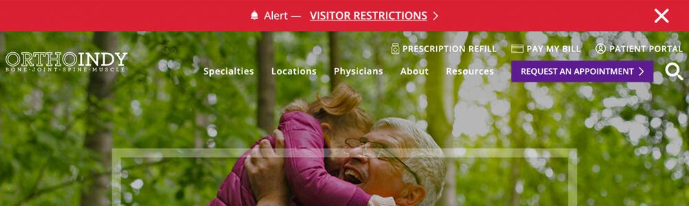OrthoIndy website alert banner