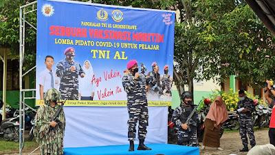 TNI AL Lanal Lhokseumawe Tantang Pelajar SMP Acut Lomba Pidato Sosialisasi Vaksin Covid - 19