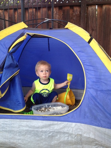Coconut Love Repurpose A Kids Tent Into A Sandbox