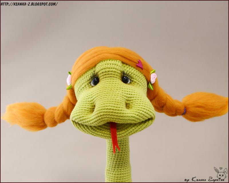 Амигуруми, вязаные игрушки, связаная змея Юлия Тимошенко