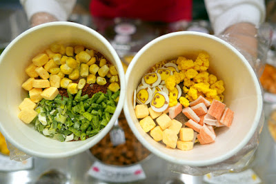 Momofuku Ando Instant Ramen Museum - Here at the My Cupnoodles Factory, you can create your own completely original CUPNOODLES package. Select your favorite soup from among four varieties and four toppings from among 12 ingredients. Altogether, there are 5,460 flavor combinations.
