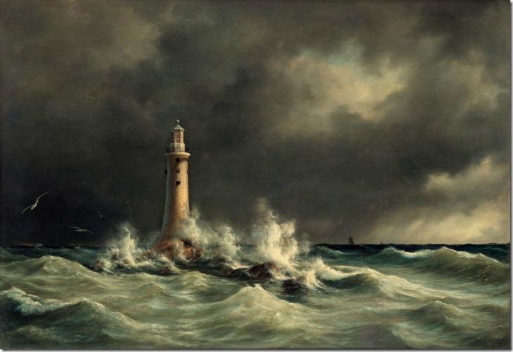 Eddystone Fyrtårn af Anton Melbye 1846