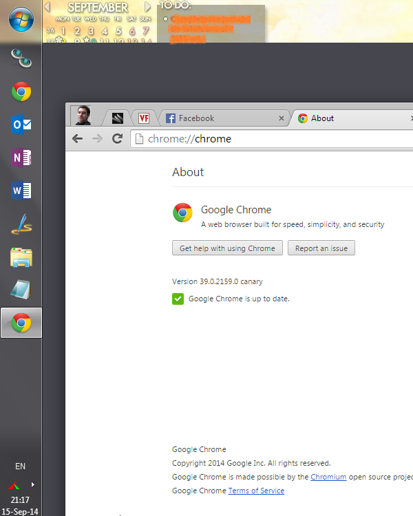 Chrome 39 Immersive mode on Windows 7