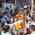 Samajwadi Party entry program with a crowd of hundreds