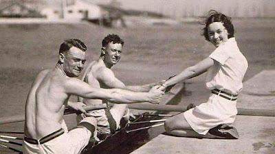 1932-JO Los Angeles-Les frères Vandernotte avec Maureen O Sullivan (l'actrice femme de Tarzan)