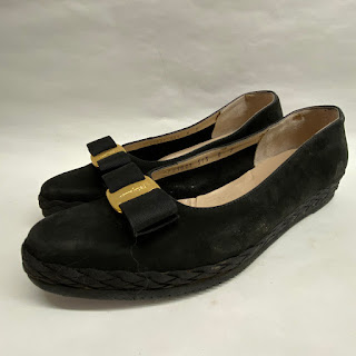 Salvatore Ferragamo Black Suede Platforms