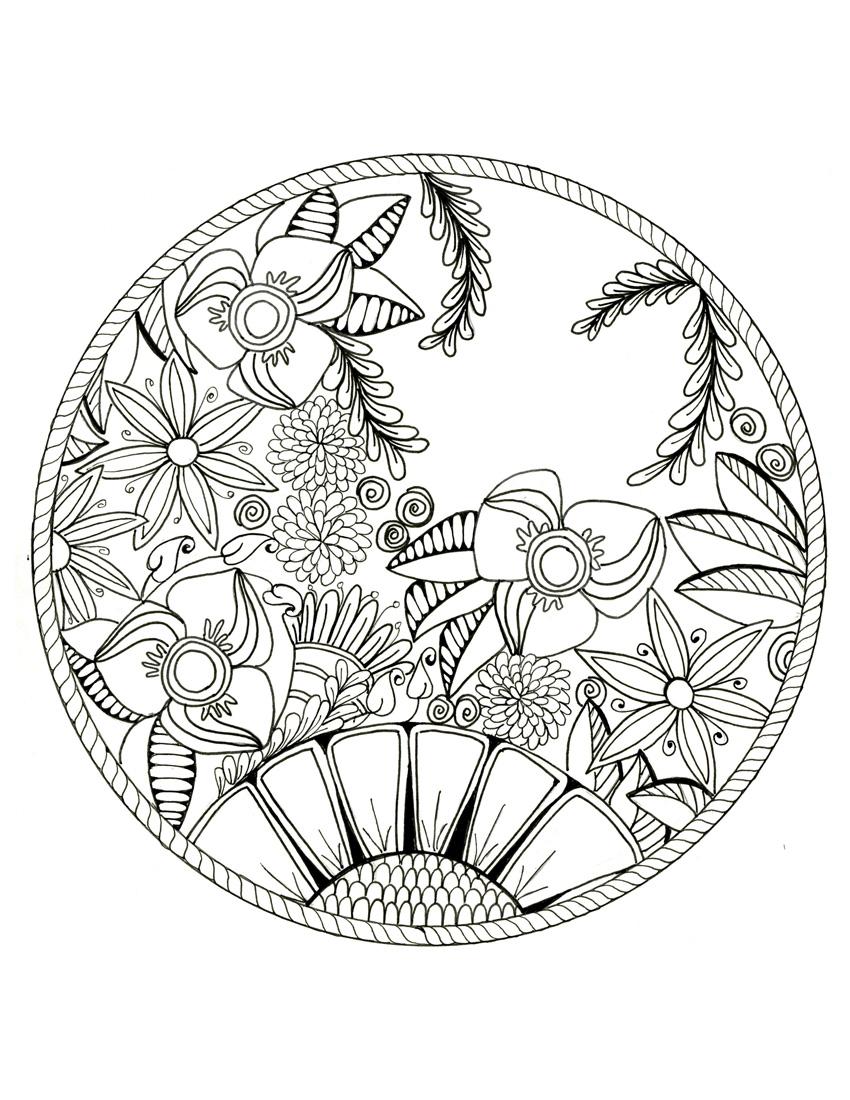 Unique Lotus Flower Mandala Coloring Pages Design