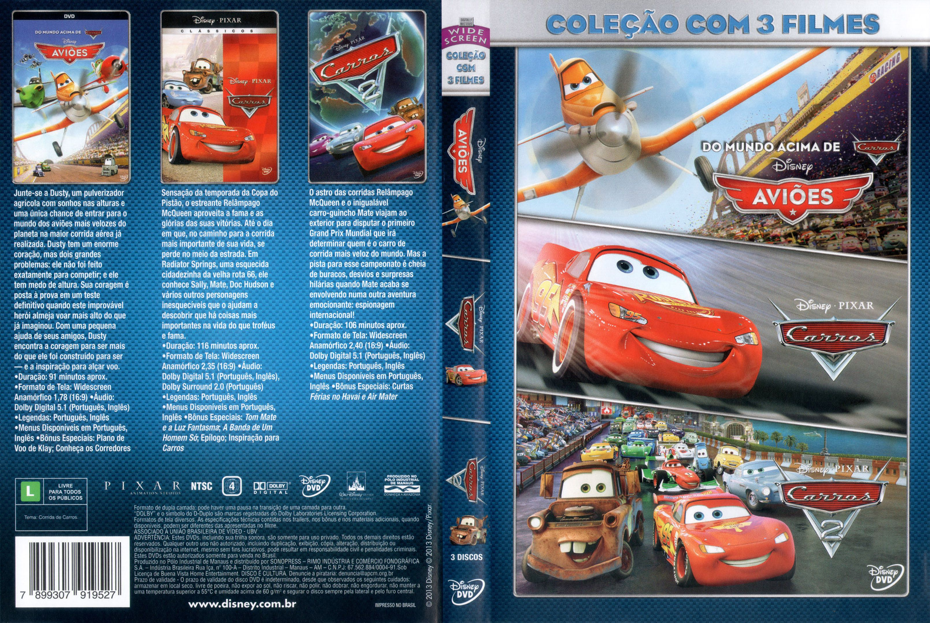 Capa Dvd Colecao Com 3 Filmes Avioes Carros E Carros 2 Dvd Cover