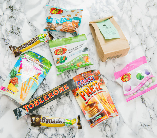 overhead photo of packages of different snacks