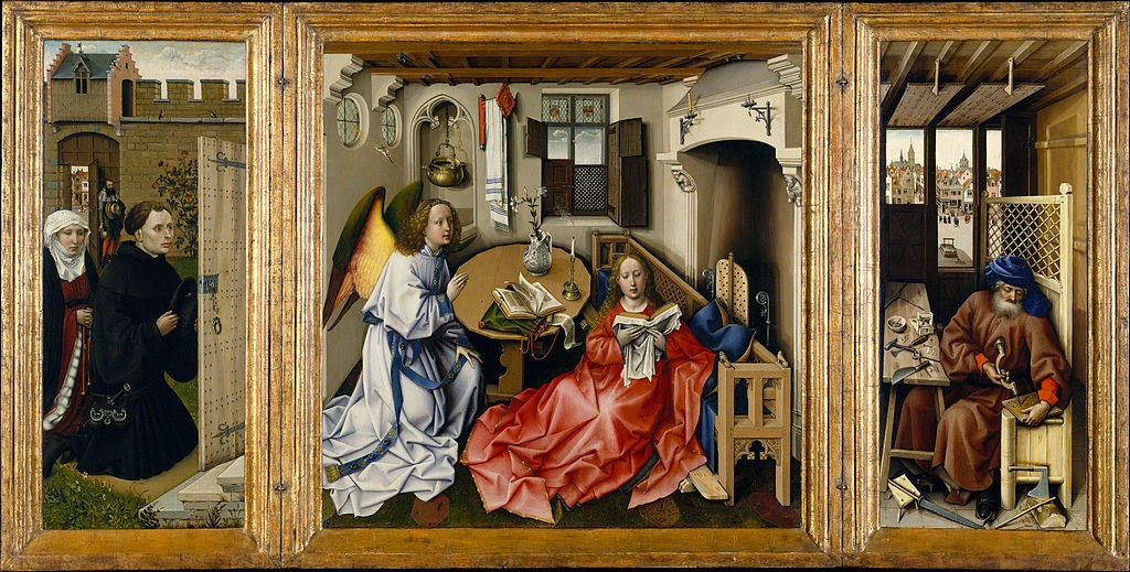Robert Campin - Triptych with the Annunciation, known as the 'Merode Altarpiece' - Google Art Project