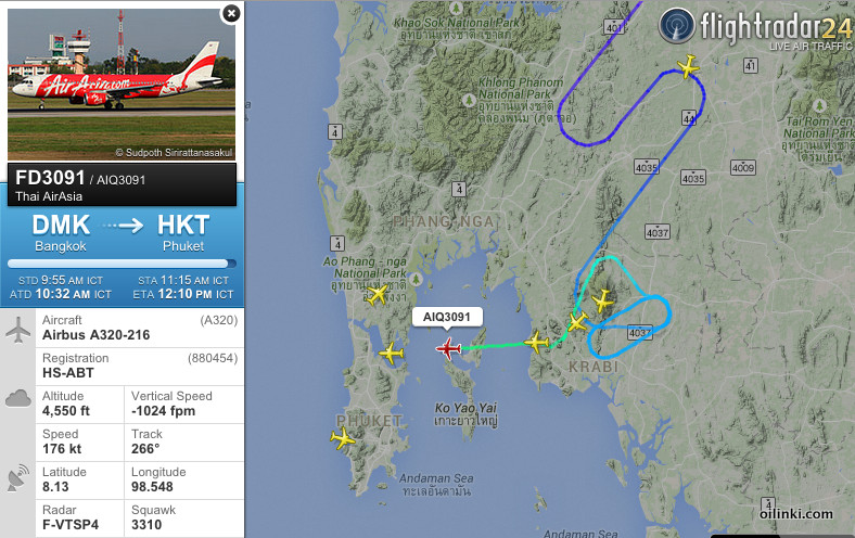 Air Asia flight one hour late from Bangkok to Phuket
