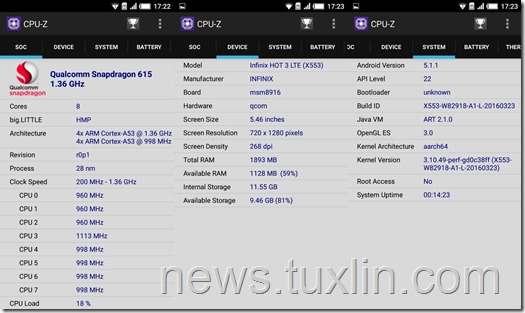 Benchmark Infinix Hot 3 X553 4G LTE CPU-Z