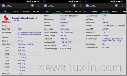 Benchmark Infinix Hot 3 X553 4G LTE CPU-Z