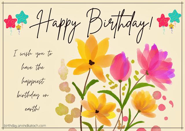Birthday Card, Flower, Painting, Happy Birthday,
