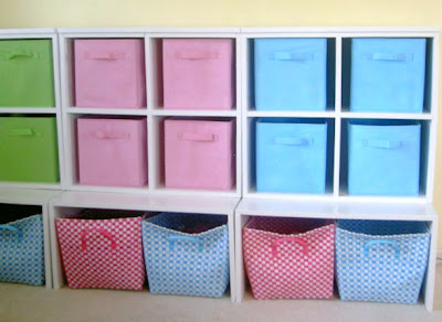 diy storage cubbies with fabric bins