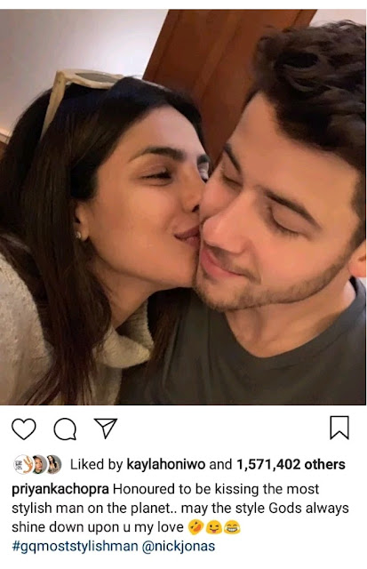 Priyanka Chopra reacts as her husband Nick Jonas is named GQ's Most Stylish Man of 2018