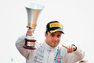Felipe Massa, Williams F1, 3rd Position, with his trophy on the podium