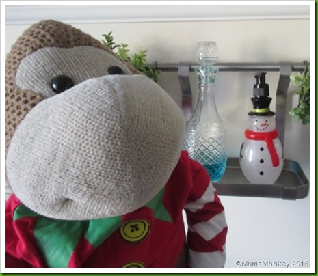 snowman handwash in the kitchen