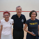 2012 Mature Event, Women's 40+: Lucy Bradley (runner up), Lew Holmes (tourney chair), and Becky Lingard (winner)