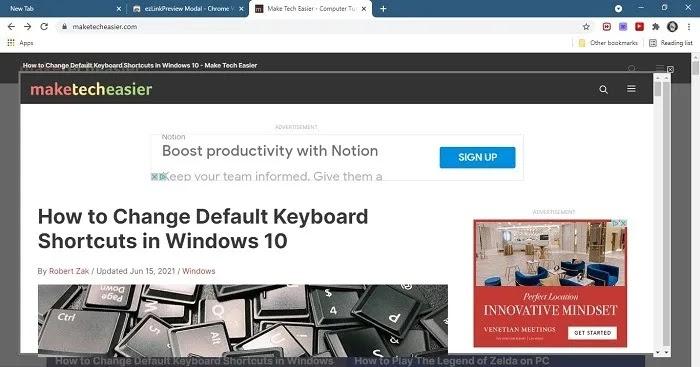 معاينة الروابط نافذة Chrome Web Preview