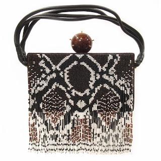 Tonya Hawkes New  Indian Beaded Python Bag