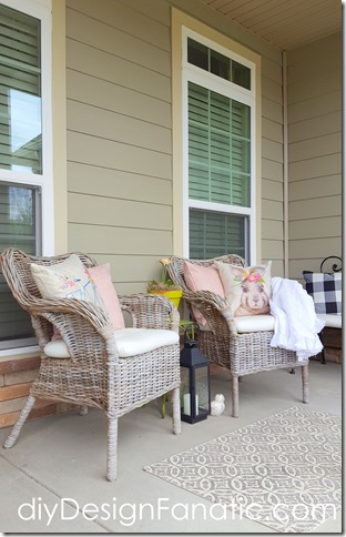 Spring Porch, pretty pillows, flowers, buffalo check pillows,   cottage, cottage style, farmhouse, farmhouse style, diyDesignFanatic.com