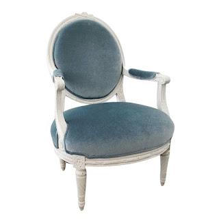Louis XVI Style Mohair Oval-Back Armchair #1
