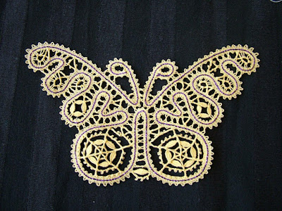 Bobbin Lace Butterfly made by Delores Miller; pattern from Russian Tape Lace by Lia Baumeister (video)