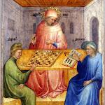 Nicolò di Pietro - Saint Augustin et Alypius reçoivent la visite de Ponticianus (vers 1413, tempera sur bois)