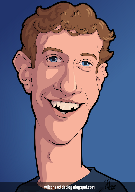 Cartoon caricature of Mark Zuckerberg.