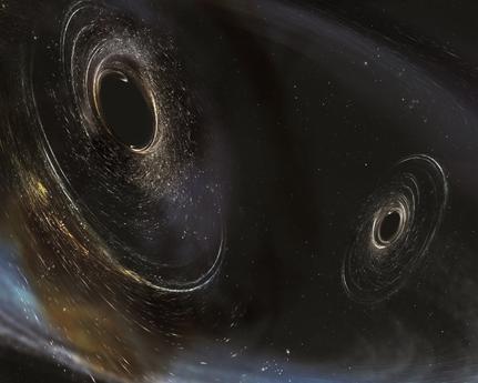 ilustração da fusão de dois buracos negros