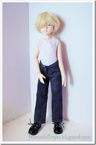 Names for the new dolls and more doll clothes.  Jeans for a boy doll.