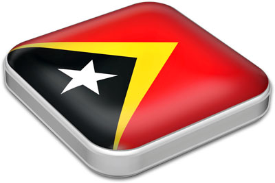 Flag of East Timor with metallic square frame