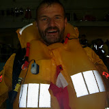 31 May 2012 - Crew Member Ray Murphy with lifejacket inflated after trying out the new lifejacket.Photo: RNLI Poole/Dave Riley