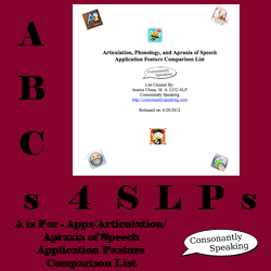 ABCs 4 SLPs: A is for Apps/Articulation/Apraxia of Speech - Articulation, Phonology, and Apraxia of Speech Application Features Comparison List image