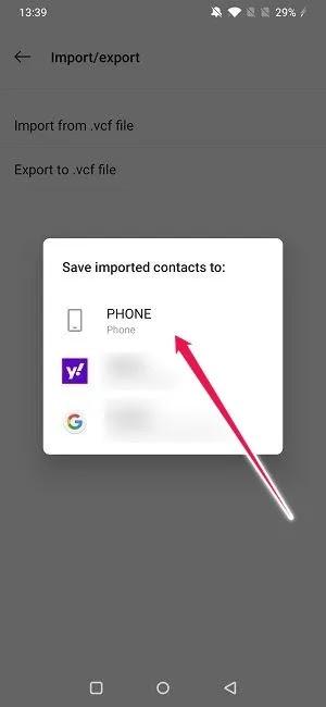 استيراد تصدير جهات الاتصال على Android حفظ الواردات إلى الهاتف