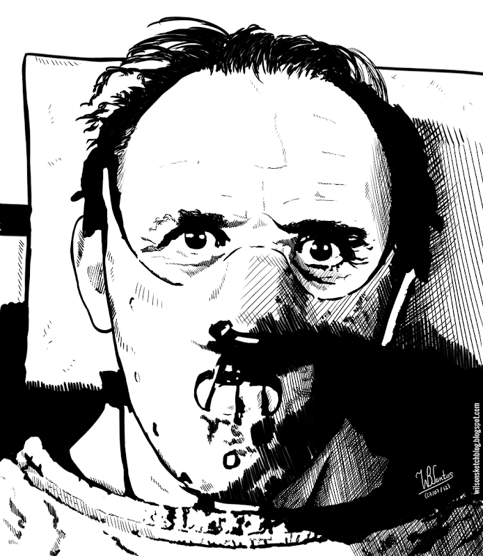 Ink drawing of Hannibal Lecter, using Krita 2.4.